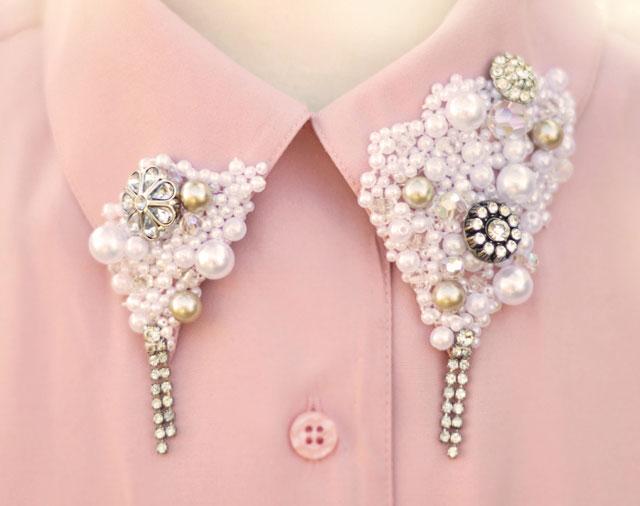 Cách làm chiếc áo cổ collar dễ thương, Thời trang, ao so mi, co ao, , ngoc trai, khuyen tai, pha le, thoi trang, Miu Miu