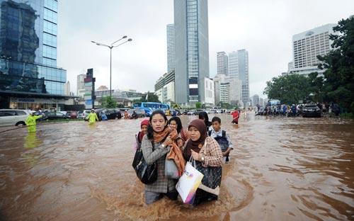 """Chùm ảnh: Lũ """"nhấn chìm"""" thủ đô Indonesia - 10"""