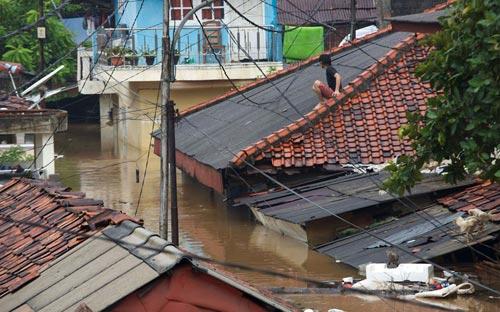 """Chùm ảnh: Lũ """"nhấn chìm"""" thủ đô Indonesia - 4"""