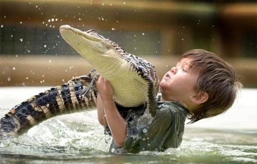 Bé trai 3 tuổi thích chơi với cá sấu - 2