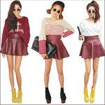 """Thời trang - """"Mix"""" nhiều phong cách với váy da"""