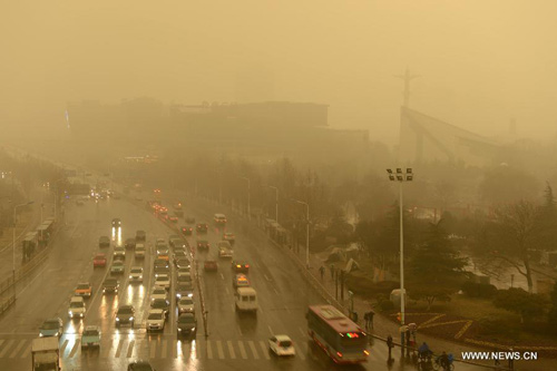 Chùm ảnh: Bão cát, khói bụi tấn công Bắc Kinh - 12