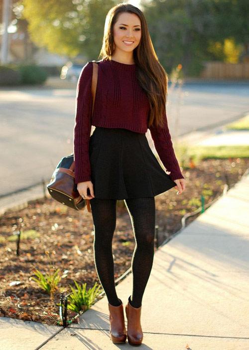Cách diện áo len dáng ngắn thật cá tính - 6