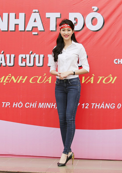 Hoa hậu Thu Thảo giản dị đi hiến máu - 7