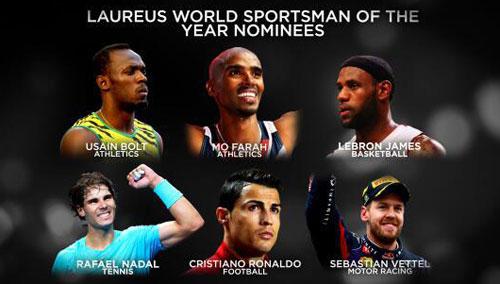 Bolt tranh giải Laureus với Ronaldo & Nadal - 1
