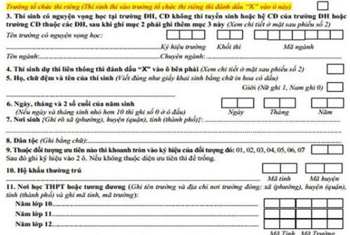 Công bố mẫu hồ sơ đăng kí dự thi đại học - 1