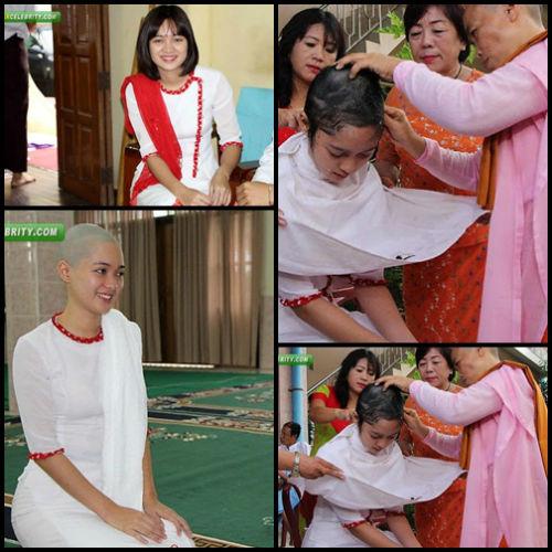 Sửng sốt người đẹp Myanmar xuống tóc đi tu - 1