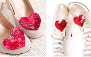 Làm giày đính trái tim lấp lánh cực dễ trong 8 phút
