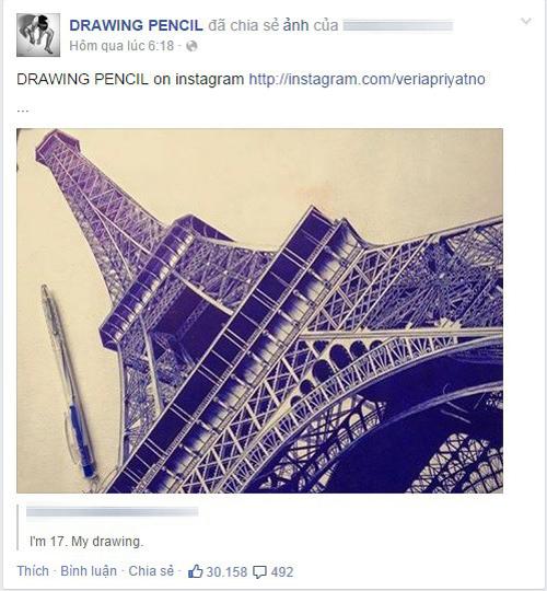 Nữ sinh Việt vẽ tháp Eiffel bằng bút bi gây sốt