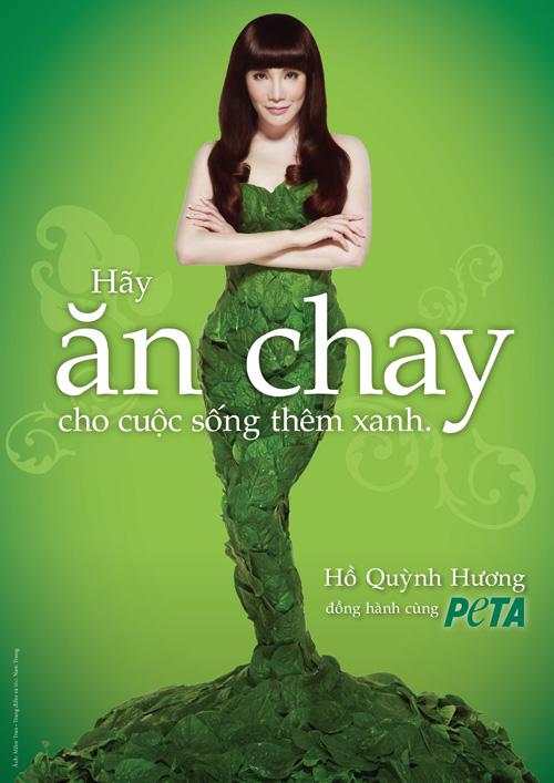 Hồ Quỳnh Hương mặc váy làm từ rau xanh quyến rũ - 1
