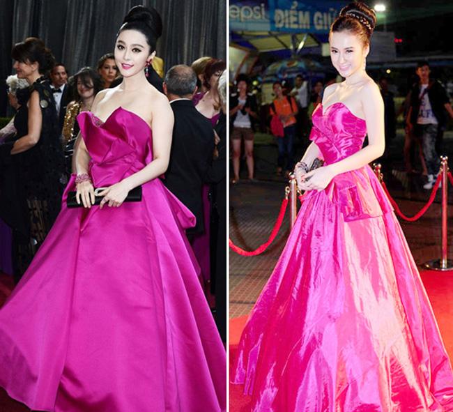 """Thời kỳ đầu khi bước chân vào sự nghiệp ca hát, Angela Phương Trinh thường xuyên trở thành tâm điểm với những chiếc váy khi hở hang quá mức, lúc """"học hỏi"""" y chang Phạm Băng Băng."""
