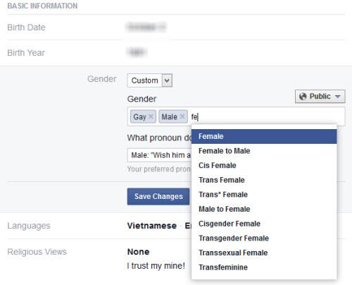 Facebook cho người dùng nhập giới tính bất kỳ - 1