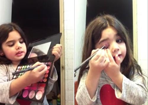 Thích thú với clip trang điểm sành điệu của bé gái - 4