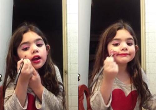 Thích thú với clip trang điểm sành điệu của bé gái - 3