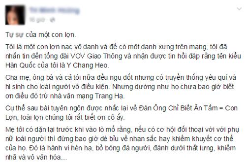 """Đàn ông tranh cãi về phát ngôn """"...khác gì con lợn"""" của Trang Hạ - 2"""