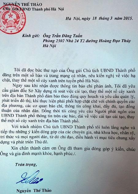 """Chặt 6.700 cây xanh: Chủ tịch HN trả lời """"thư ngỏ"""" - 2"""