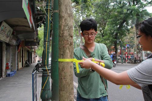 Giới trẻ Hà Thành thắt nơ bảo vệ cây trên phố - 7
