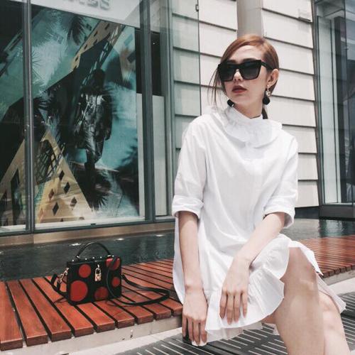 Minh Hằng mặc sành điệu dạo phố Thái Lan - 8