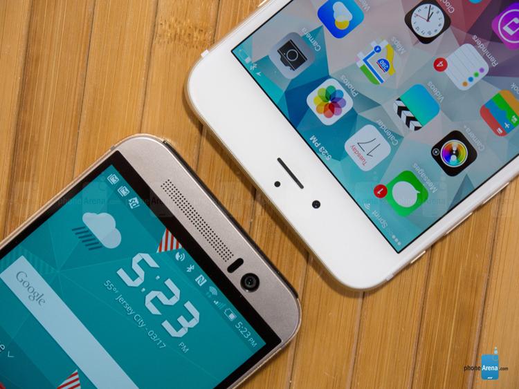 Về kích thước, chiếc phablet đầu tay của Apple có kích thước lớn hơn nhiều so với One M9. iPhone 6 Plus sở hữu kích thước & nbsp;158.1 x 77.8 x 7.1 mm, trong khi One M9 là 144.6 x 69.7 x 9.6 mm (cao x rộng x độ dày). & nbsp; Như vậy có thể thấy iPhone 6 Plus mỏng hơn nhiều so với đối thủ.