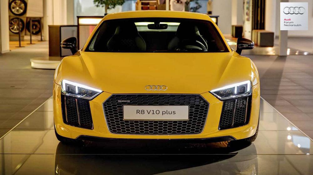Audi R8 V10 Plus màu vàng nổi bần bật tại Đức - 1