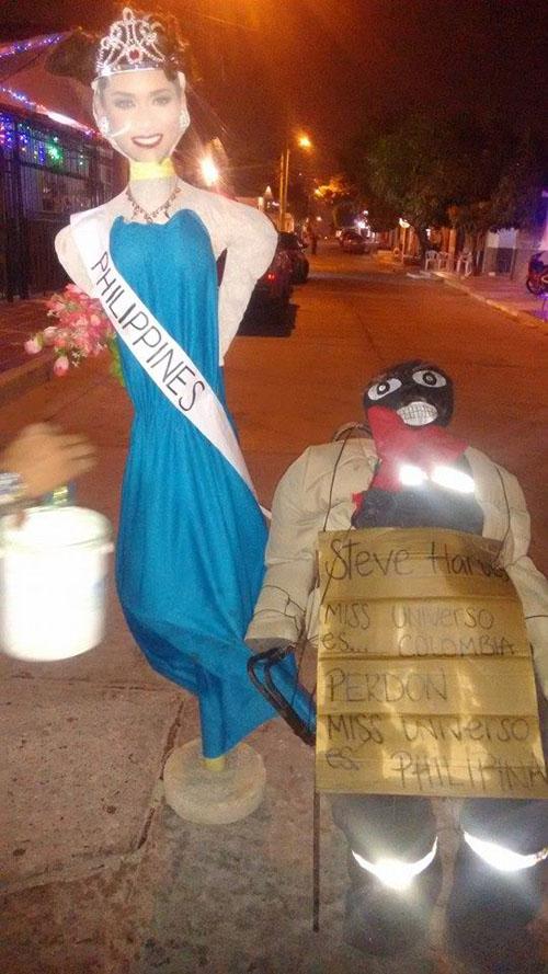 Clip: Hình nộm Hoa hậu Hoàn vũ 2015 bị đốt ở Colombia - 3