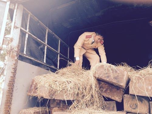CSGT phát hiện hàng trăm chai rượu và gỗ lậu - 2