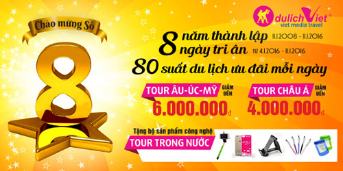 """""""8 ngày tri ân"""" giảm giá tour tết tại Du lịch Việt - 1"""