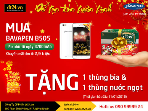 Mua smartphone 2 sim Bavapen B505 rinh bia mừng năm mới - 1