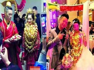 Bạn trẻ - Cuộc sống - Cô dâu trĩu cổ vì đeo gần 10kg vàng trong đám cưới