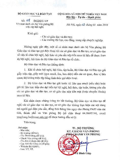 Cảnh báo tình trạng mạo danh Văn phòng Bộ GD-ĐT lừa tiền mua tài liệu - 1