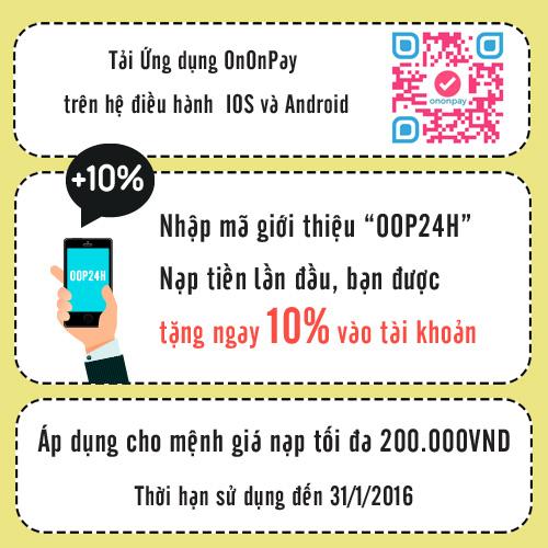 Tặng ngay 10% giá trị nạp tiền điện thoại với Ononpay - 1