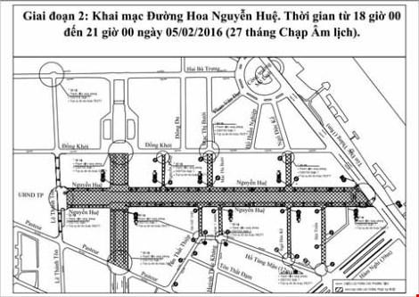 Phân luồng giao thông phục vụ đường hoa Nguyễn Huệ - 2