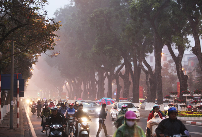 Ảnh: Sương mù biến HN chiều đông thành Sa Pa buổi sớm - 5