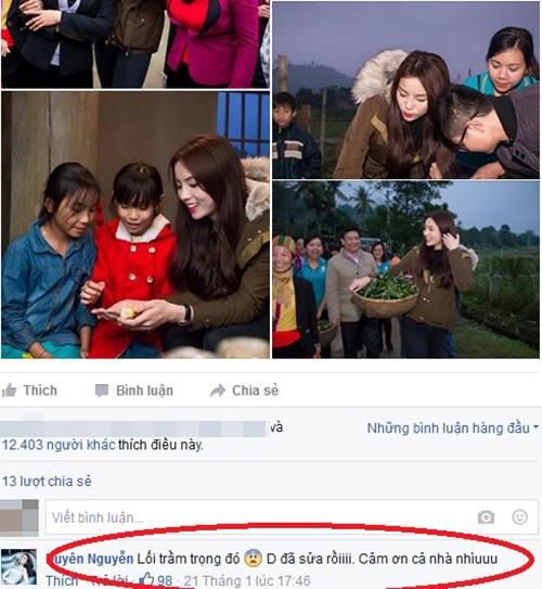 Facebook sao 23/1: Hoa hậu Kỳ Duyên viết sai chính tả - 3