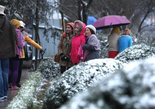 """Sa Pa: Du khách đổ ra đường chơi đùa, """"check in"""" cùng tuyết - 1"""