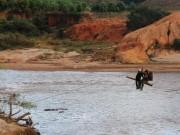 """Tin tức trong ngày - Có cầu tạm, dân vẫn """"liều mình"""" đu dây vượt sông"""