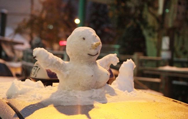 Ảnh: Du khách thích thú nặn người tuyết ở Sa Pa - 13