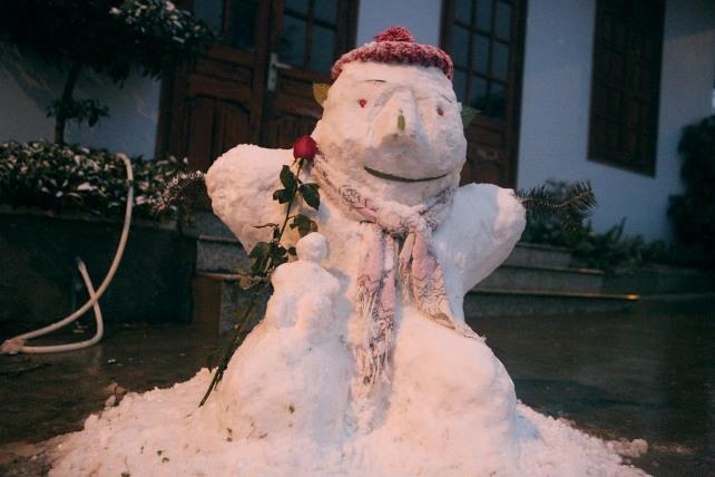Ảnh: Du khách thích thú nặn người tuyết ở Sa Pa - 15