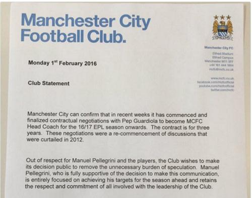 CHÍNH THỨC: Pep Guardiola sẽ dẫn dắt Man City - 3