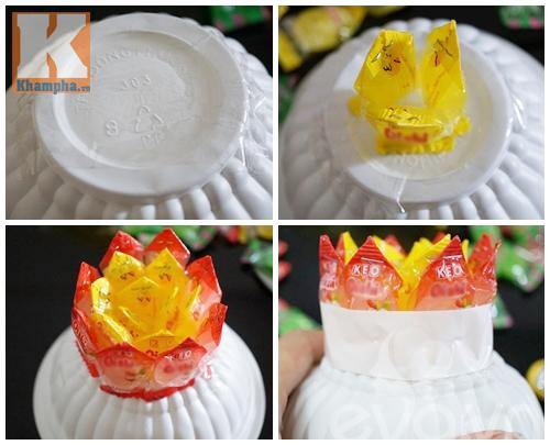 Cách làm hoa sen để ban thờ ngày Tết từ kẹo - 4