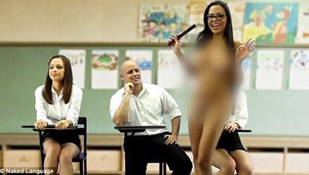 Cô giáo khỏa thân dạy tiếng Anh trên truyền hình - 1