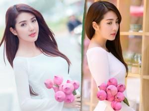 Giới trẻ - Hot girl Linh Napie e ấp bên sen hồng