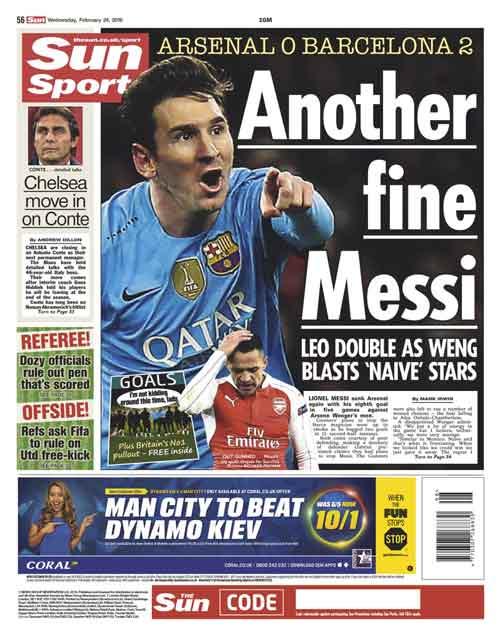 """Báo Anh: Arsenal cúi đầu trước """"thiên tài"""" Messi - 2"""