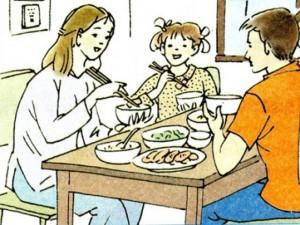 Bữa cơm hạnh phúc của vợ chồng nghèo và con gái