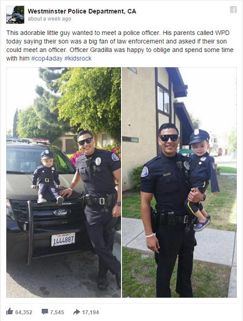 Bé gốc Việt và chàng cảnh sát đẹp trai bất ngờ gây sốt - 1