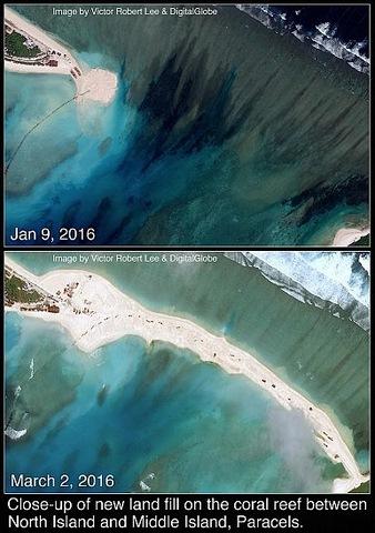 Trung Quốc đắp đất nổi trái phép nối 2 đảo ở Hoàng Sa - 1