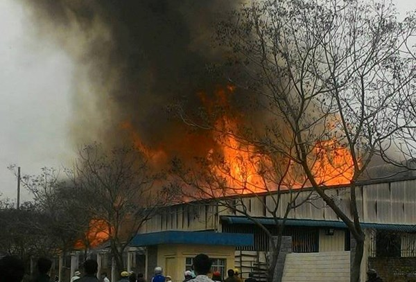 Ngọn lửa bao trùm xưởng gỗ 200m2, người dân hoảng loạn - 1