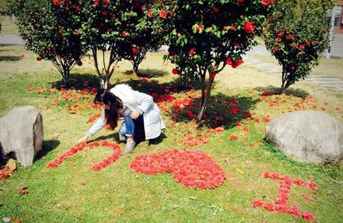 Nữ sinh xinh đẹp xếp hoa tỏ tình với bạn trai phương xa - 1