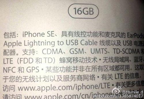 Xác nhận tên gọi iPhone SE, bộ nhớ trong 16GB - 2
