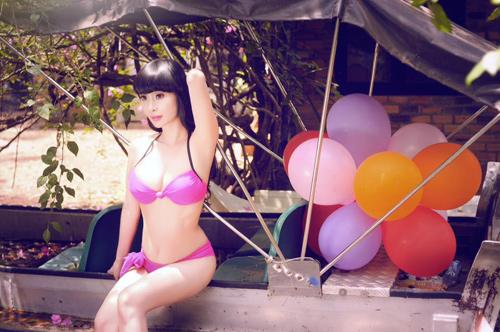 Lê Kiều Như tự may bikini để vừa kích cỡ vòng 1 - 5